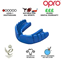 OPRO Snap-Fit Mouthguard | Gum Shield for Rugby, Hockey and other Contact Sports, Electric Blue, Kids