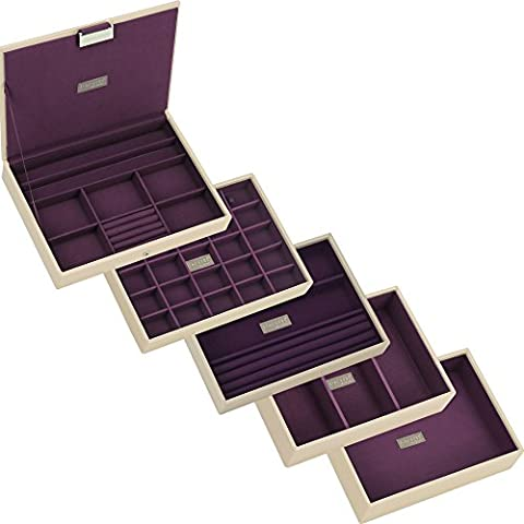 STACKERS Set of 5 'CLASSIC SIZE' - Cream STACKER Jewellery Box with Purple Lining