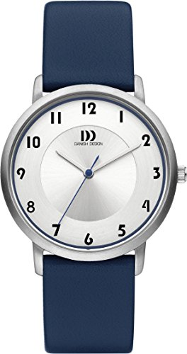 Danish Design Women's Quartz Watch with White Dial Analogue Display and Blue Leather Strap DZ120420