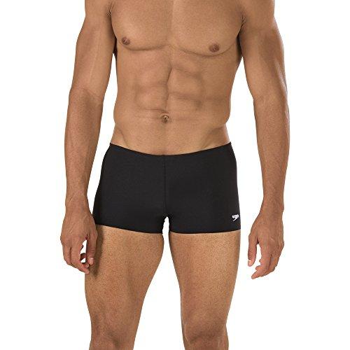 Speedo Men's Endurance+ Polyester Solid Square Leg Swimsuit, Black, 36