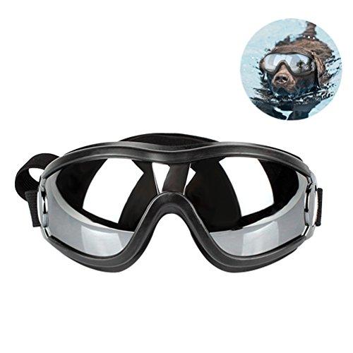 Petacc Hund Sonnenbrillen | Haustier Schutzbrillen | Sonnenschutz Brillen Für Haustier Hunde,Geeignet Mittlere und große Hunde, UV-Schutz und winddicht,verstellbares Design, Silber