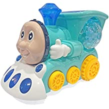 Popsugar Musical Bump and Go Smiley Train with Flashing Lights, Blue