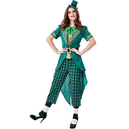 ZQ Fee Baby Frauen St. Patrick's Day Outfit Anzug Set Irish Green Leprechaun Party Cosplay Kostüm Set,B,M