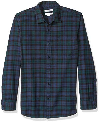Amazon Essentials Herren Slim Fit Kariertes Flanellhemd mit langen Ärmeln, Grün (Black Watch Plaid), Gr. Small -