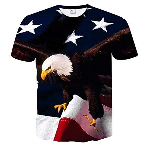 shixiaodan Herren T-Shirt, Männer Casual 3D Eagle Print Kurzarm T-Shirt (Eagle Shirts Für Männer)