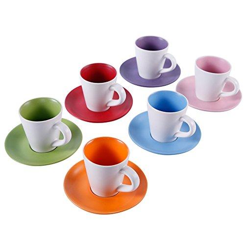 Mini café coloré / Set de café en céramique / 6 Ensemble de cadeaux / vaisselle cadeau (3 couleurs facultatives) ( couleur : A )