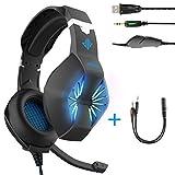 headset-3.5mm alimentazione USB e cavo cuffie da gaming con microfono e luminosa a LED per PC, PS4, Xbox, tablet, smartphones-noise-isolating/stereo sound/morbido paraorecchie memoria nero Nero