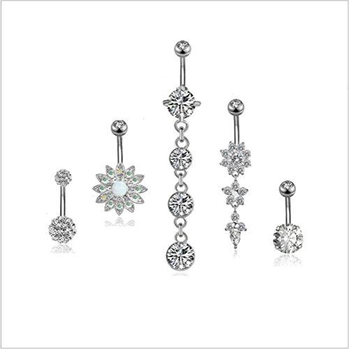 Hlzf LZ 5 STÜCKE 316L Edelstahl Baumeln Bauchnabel Ringe Für Frauen Nabel Ringe Curved Barbell Piercing Jewelry14g