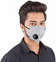 Grin Health N95 Anti Pollution Mask with Valve & Activated Carbon 5 Layer Protective Filters (Pack of 1, G