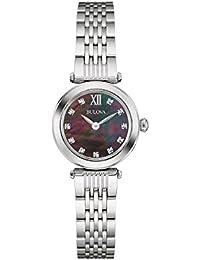 Bulova Ladies Women's Designer Diamond Watch Bracelet - Stainless Steel Black Mother Of Pearl Dial Wrist Watch 96S169