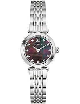 Bulova Diamond 96S169 - Damen Designer-Armbanduhr - Edelstahl - schwarzes Perlmutt-Zifferblatt