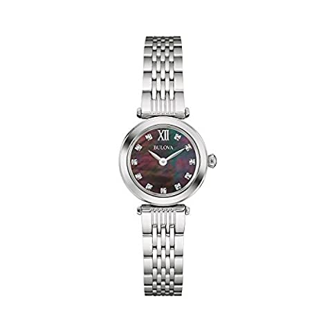Bulova Ladies Women's Designer Diamond Watch Bracelet - Stainless Steel Black Mother Of Pearl Dial Wrist Watch