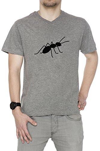 Fourmi Gris Coton Homme V-Col T-shirt Manches Courtes Grey Men's V-neck T-shirt
