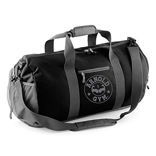 0c1931b098 Arnold Gym Athletic Fitness Bodybuilding Black & Gray Barrel Bag