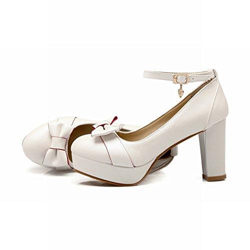 Mee Shoes Damen süß Schleife Ankle strap Plateau Pumps Weiß