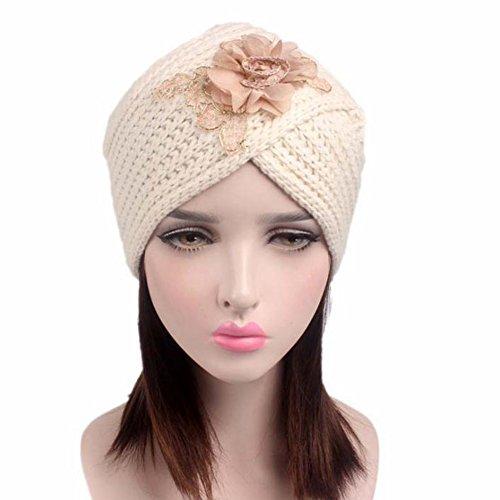 8cd9b89dbad Hosaire Femme Hiver Chapeau Fille Tricoté Bonnet Mode Fleurs Chaud Crochet  Béret Casquette Noir ...