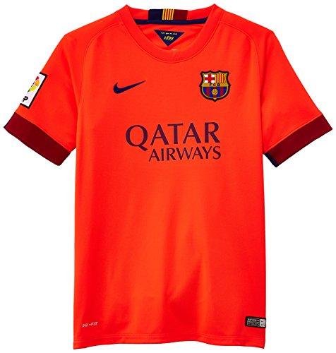 Camiseta FC Barcelona 2ª -Junior- 2014-15 La camiseta de fútbol para niño de 8 a 15 años 2014/15 FC Barcelona Away está confeccionada con un tejido que capilariza el sudor para una comodidad ligera. Incorpora un escudo del equipo tejido y llamativos ...