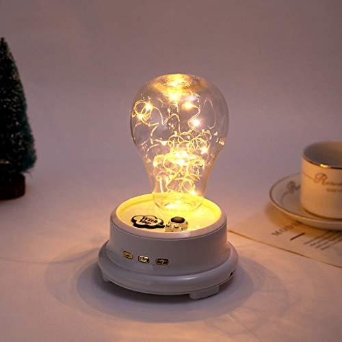 TianranRT❄ Led-Nachtlicht,Led-Flaschenlampe Blume In Glaskuppel Bluetooth-Lautsprecher Gespeichert Kreatives Musiklicht (19X12,5X12,5),Weiß (Uhr Wels)