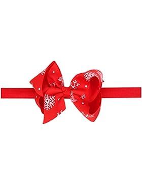Zhhlaixing Baby Girls Toddler Kids Elastic Ribbon Snowflake Bowknot Headband Hairband Hair Accessories for Christmas...
