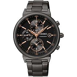 Seiko SNDW47P1-Unisex Watch Analogue Quartz Chronograph Black Dial Black Bracelet Silver Plated Steel