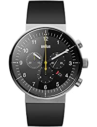 Braun Men's Quartz Analogue Display Watch with Black Dial and Black Rubber Strap