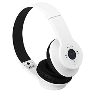 AEC Cuffie Wireless Bluetooth 2.1+EDR Multifunzione Headphones con FM SD per iPhone iPad Android Smartphone PC Tablet (Bianco)