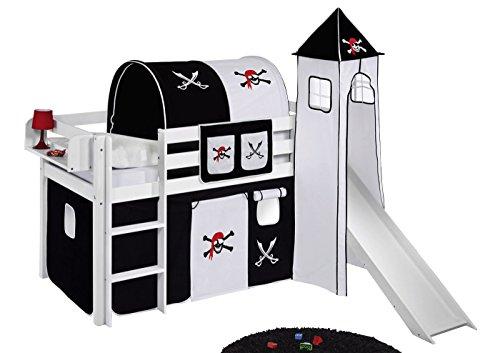 Spielbett JELLE Pirat Schwarz Weiß - Hochbett LILOKIDS - weiß - mit Turm, Rutsche und Vorhang