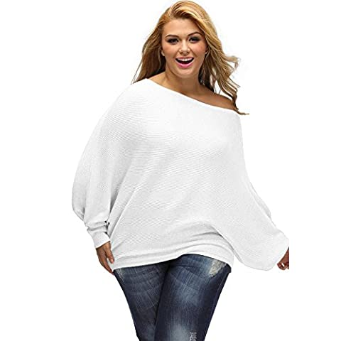 loose sweater knit women casual long sleeve elasticity sweatshirts pullovers tops . white . m