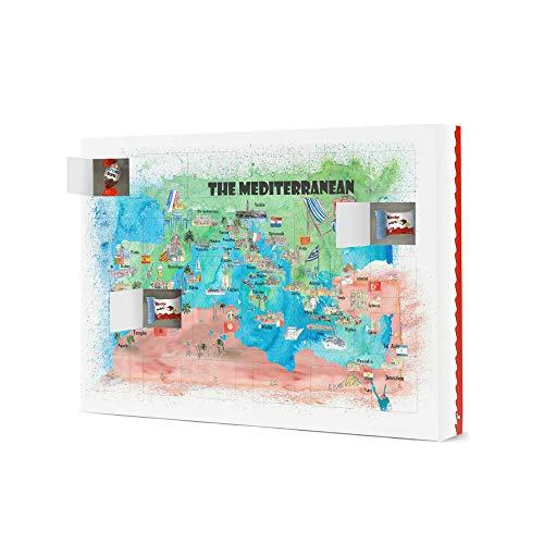 artboxONE Adventskalender XXL mit Produkten von Kinder® Mittelmeer Kreuzfahrt Karte Adventskalender Städte