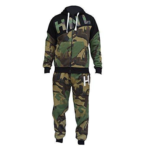 Nuovo da uomo mimetico camouflage tuta in pile Zip con cappuccio Top Tuta Pantaloni Pantaloni jogging fondo Giacca con cappuccio-HnL Projection Khakhi Medium