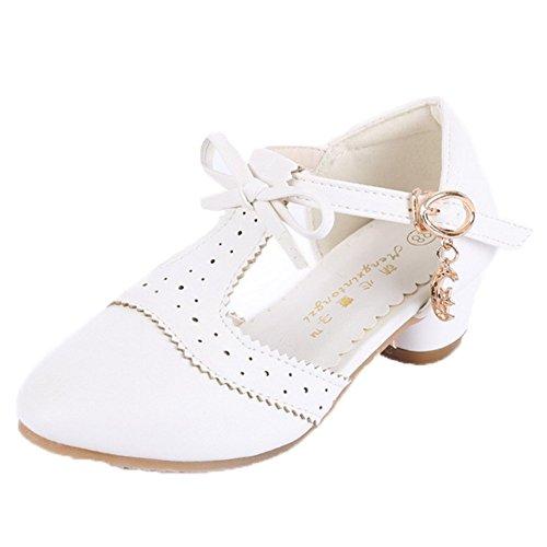 Ohmais Enfants Filles Chaussure cérémonie Ballerines à bride Fête Demoiselle d'honneur Mariage Escarpin à petit talon blanc paillette