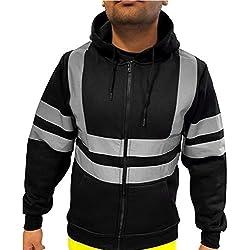 QinMM Chaqueta y Pantalones y Chaleco Bicolor de Alta Visibilidad con Bandas Reflectantes para Hombre con Capucha, de Seguridad, Abrigo Sudadera Traje de Trabajo de Carretera, Running Nocturna