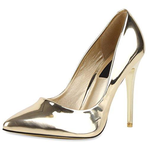 SCARPE VITA Spitze Damen Pumps High Heels Lack Stilettos Schuhe 164070 Gold Lack 37