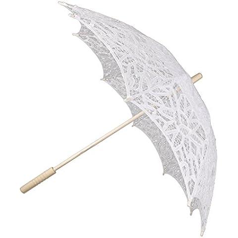 Hecha A Mano Sombrillas De Encaje De Algod¨®n Paraguas Partido De La Boda De Novia Blanco