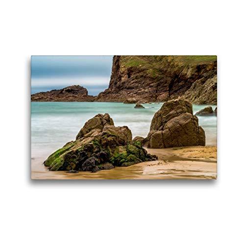 Premium Textil-Leinwand 45 x 30 cm Quer-Format Jersey, Plémont Bay | Wandbild, HD-Bild auf Keilrahmen, Fertigbild auf hochwertigem Vlies, Leinwanddruck von Enrico Caccia