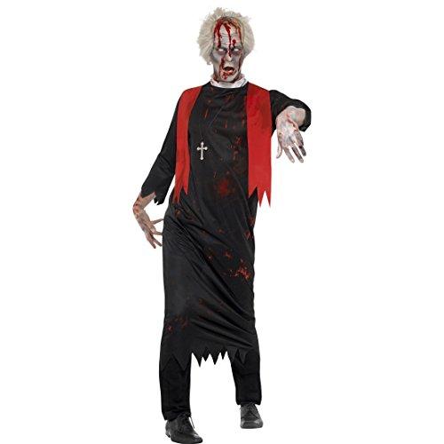 L/XL (52 - 58) - Horrorkostüm Pastor Halloweenkostüm Untoter Geistlicher Zombiekostüm Pater Horrorpriester Kostüm Zombie Priester Kostüm (Untoter Priester Kostüm)