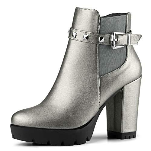 Allegra K Damen Niet Dekor Platform Blockabsatz Ankle Boots Stiefel Silber Grau 38 EU