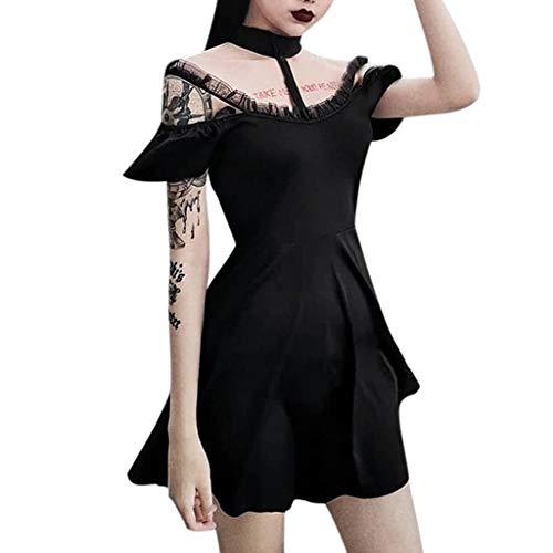 Damen Mittelalter Kostüm Vintage Steampunk Kleid Cocktailkleid Lolita Kleid Schulterfrei Kurzarm Gotische Kleidung Party Kleid Moon Weihnachten Halloween Erwachsene Cosplay ()