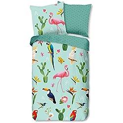 Aminata Kids - Kinder-Bettwäsche-Set 135-x-200 cm Flamingo-Motiv Papagei Kaktus Blume-n 100-% Baumwolle Renforce blau-e bunt-e