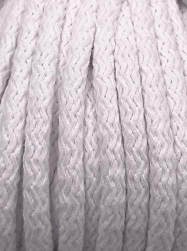 Slantastoffe 1m, 3m, 5m Kordel Baumwolle 8mm rund Schnur Turnbeutel Seil 4 Farben (Weiß, 1m) (1 4 Seil)