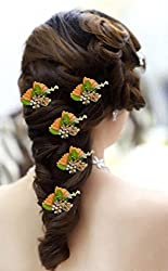 AASA Women Hair Pins For Party, Hair Pins And Accessories, Orange, 20 Gram, 5 Pcs, Pack Of 1