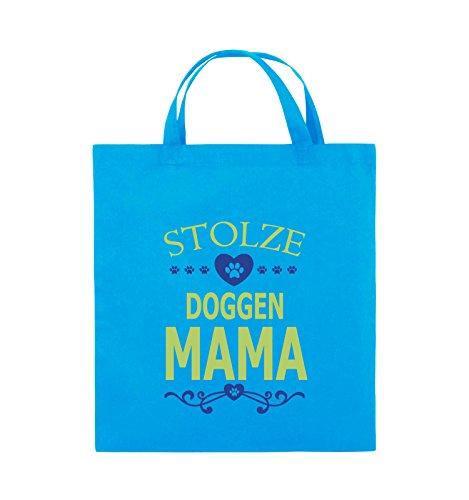Comedy Bags - Stolze Doggen Mama - HERZ - Jutebeutel - kurze Henkel - 38x42cm - Farbe: Schwarz / Weiss-Neongrün Hellblau / Hellgrün-Royalblau