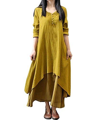 Minetom Damen Frühling Herbst V-Ausschnitt Leinen Kleid Maxikleid Langarm Doppel Layered lässig Vintage Abendkleid Partykleider ( Gelb DE 36 )