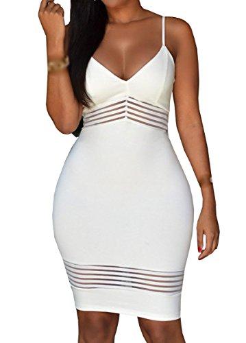 E-Girl SY60725 femme sexy robe mini Blanc