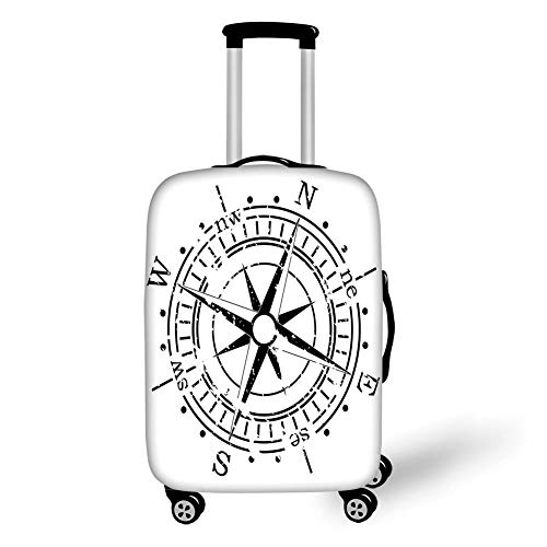 Travel Luggage Cover Suitcase Protector,Compass,Black and White Windrose with Simplistic Design Direction Navigation Primitive Decorative,Black White,for TravelL 25.9x37.8Inch -