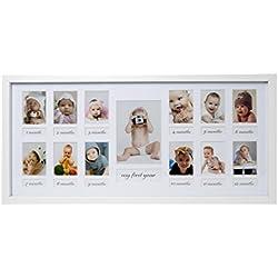 """BD ART 23x 50cm Baby Cadre photo–""""Ma première année, galerie photo Galerie de photos avec passe-partout et 12de découpes Pour photos de 5x 7cm et 1photo de 9x 13cm, blanc"""