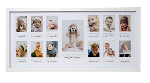 23 x 50 cm Baby Bilderrahmen Mein erstes Jahr, Bildergalerie, Fotogalerie mit Passepartout und 12 Foto-Ausschnitten für Fotos 5 x 7 cm und 1 Foto 9 x 13 cm, Weiß