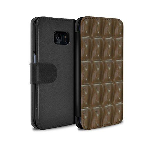 Mobile-edge-schokolade (Stuff4® PU-Leder Hülle/Case/Tasche/Cover für Samsung Galaxy S7 Edge/G935 / Galaxie-Welle Muster/Schokolade Kollektion)