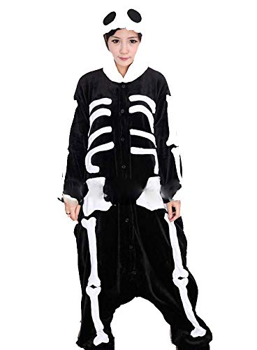 Hot unisex costume carnevale halloween festa party pigiama animali kigurumi cosplay zoo onesies tuta (small, scheletro)