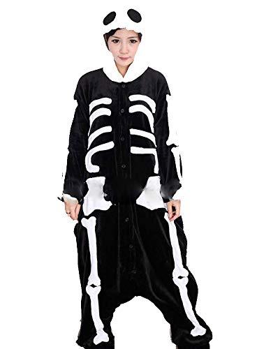 Warmes Unisex-Karnevals-Kostüm für Kinder, Einhorn Eule Zebra Giraffe Kuh, für Halloween Fest Party, als Pyjama, Tier-Kigurumi-Kostüm für Zoo-Cosplay, Einteiler - Small - - Scheletro Kostüm